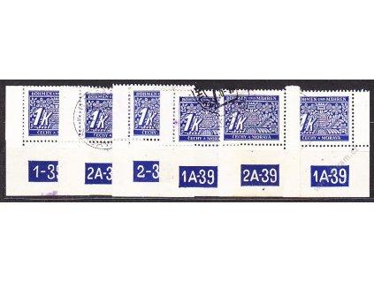 1K modrá, 6 roh. kusů s DČ, každé jiné DČ nebo okraj, Nr.DL9, razítkované