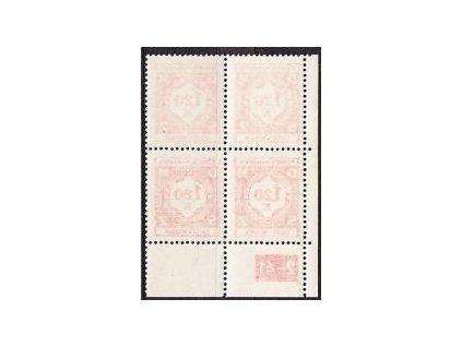 1941, 1.20K červená, 4blok - průsvitní papír, **