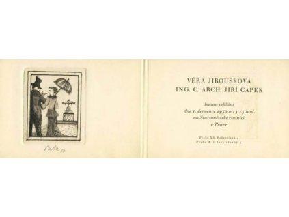 1950, pozvánka na svatbu, grafika