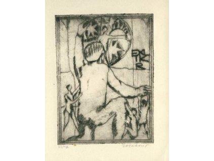 Matouš, 1973, Ex libris, nalomený růžek