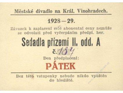 Divadlo na Vinohradech, Praha, vstupenka