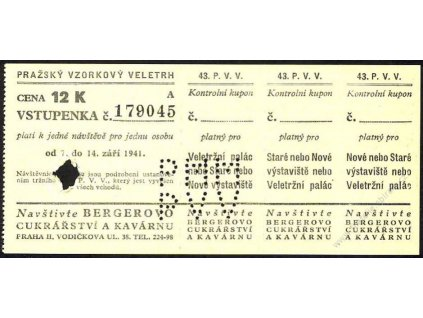 1941, 43.P.V.V., vstupenka 12K, bezvadné