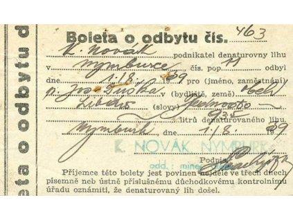 Boleta o odbytu denaturovaného lihu z roku 1939