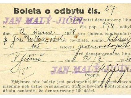 Boleta o odbytu denaturovaného lihu z roku 1938