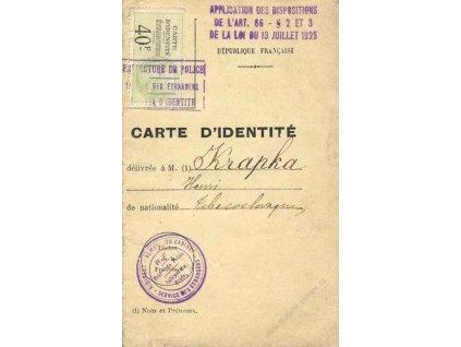 Carte ´identite z roku 1926, francouzský průkaz