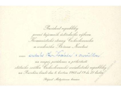 Pozvánka presidenta republiky na recepci, 1965