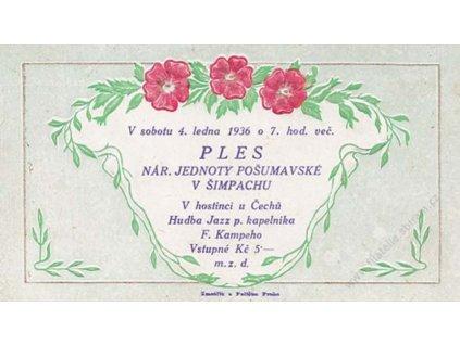 Nár. Jednota, Šimpach, 1936, pozvánka na Ples