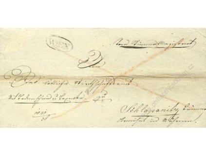 Wien, skládaný dopis z roku 1826