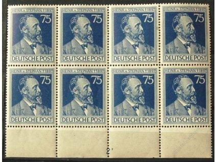 Společné vydání, 1947, 75Pf Stephan, dolní kraj. 8blok s DZ 2, MiNr.964, **