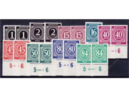 Společné vydání, 1946, 1, 2, 15, 40, 45, 50, 50, 80 a 84Pf Číslice, **