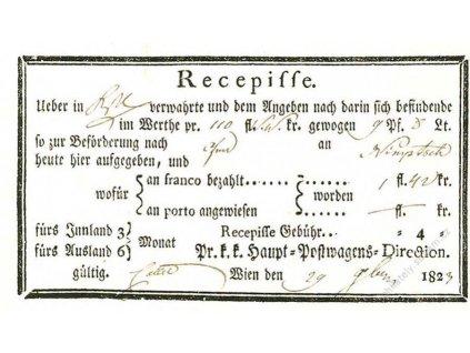 Wien, recepis z roku 1823, přeloženo, hezký stav