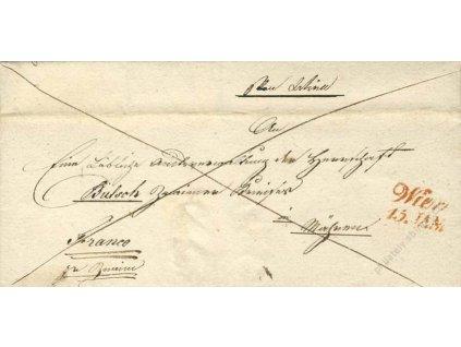 Wien, červené razítko, skládaný dopis z roku 1838
