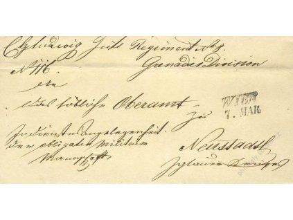 Wien, skládaný dopis z roku 1848