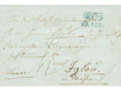 Gratz, modré razítko, skládaný dopis z roku 184?, malý formát