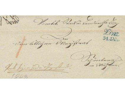 Linz, modré razítko, skládaný dopis z roku 1843