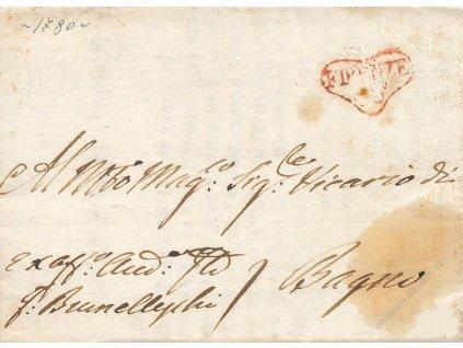 Firenze, červené razítko, skládaný dopis z roku 1778, skvrny
