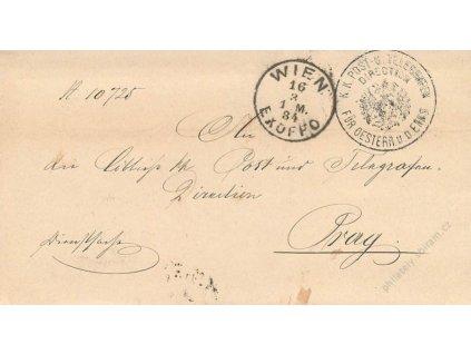 Wien Ex offo, skládaný dopis z roku 1884, stopy pošt. provozu