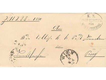 Wien + K.K. Post Direction, skládaný dopis z roku 1880