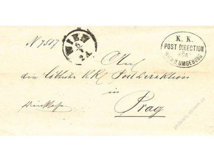 Wien + K.K. Post Direction, dopis z roku 1879