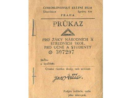 Čs státní film, průkaz pro žáky, slevové kupony