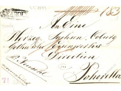 N.Karoly, skládaný dopis z roku 1847