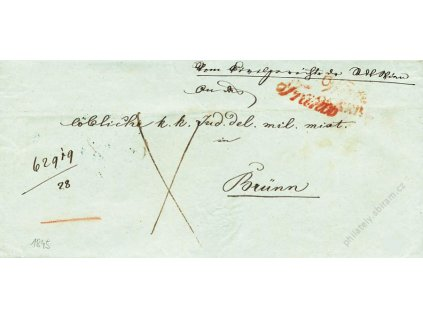Wien + Franco, červená razítka, skládaný dopis z roku 1845