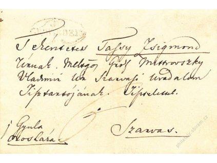 Gwawarden, skládaný dopis z roku 1845, stopy stáří a pošt. provozu