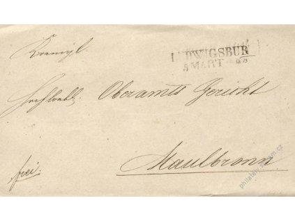 Ludwigsbur, skládaný dopis z roku 1844