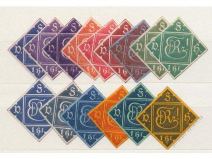 EDRZ, 1gr, 1905, 15 ks, každá barva jiná, **/*