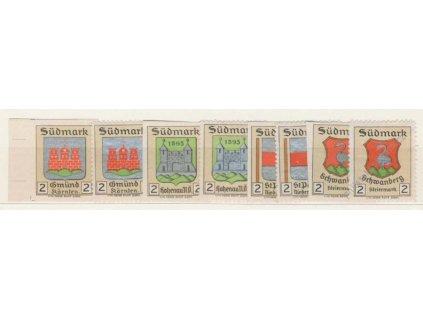 Sudmark, 2h Znak, 1905, 8 ks, vždy ZT + nálepka, *