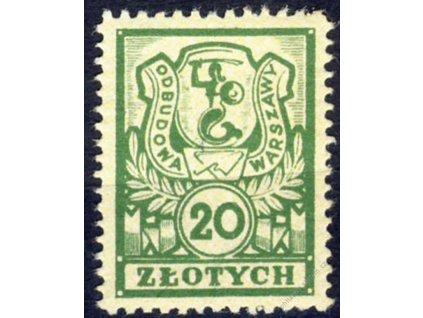 Polsko, 1948, 20Zl Odbudowa Warszawy, **