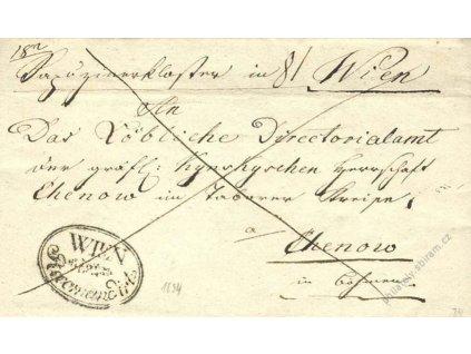 Wien, Reccomandiert, skládaný dopis z roku 1834
