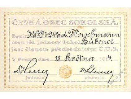 Sokol, průkazka z roku 1914, kartička, skvrnka