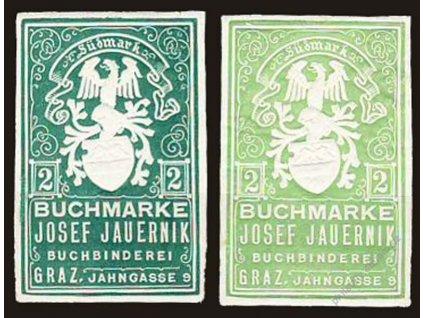 Buchmarke Josef Jauernik, Graz, 2h, 2 ks, **