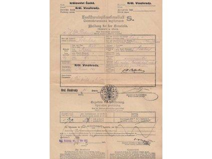 Domobranecká legitimace z roku 1917, Král. Vinohrady, A4