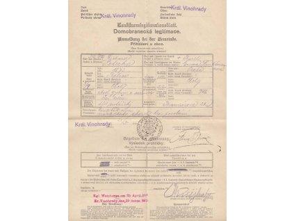 Domobranecká legitimace z roku 1915, Král. Vinohrady, A4