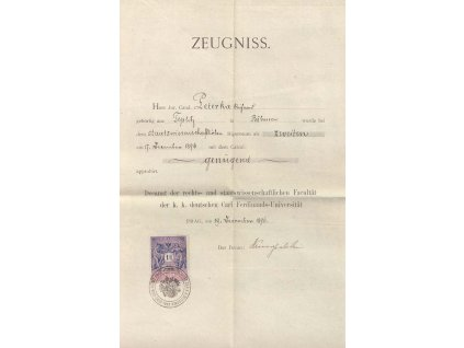 Zeugniss, vysvědčení z roku 1896, A4, přeloženo
