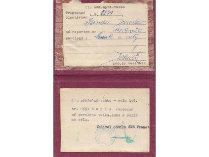 Průkazka vazebně stíhaného z vazební věznice z roku 1950