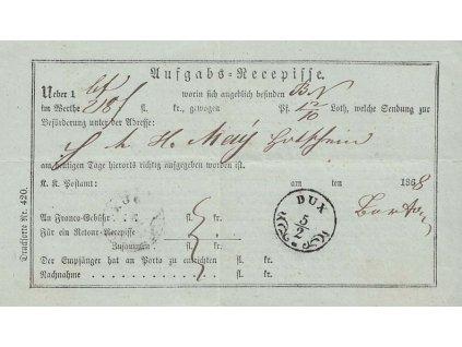 Dux, recepis z roku 1868, obvyklé přehyby