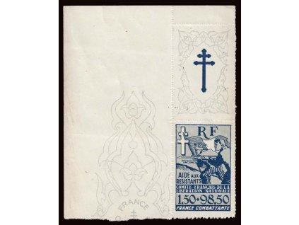 Alžír, 1943, 1.50Fr modrá s kuponem, MiNr.6, **