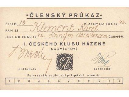 Házená, členský průkaz z roku 1943, I. český klub házené