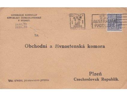 Austrálie, 1933, DR Sydney, dopis z čs. konzulátu zasl. do ČSR