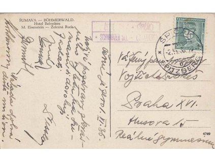 Černé Jezero (Špičák), DR Špičák, pohlednice zaslaná do Prahy