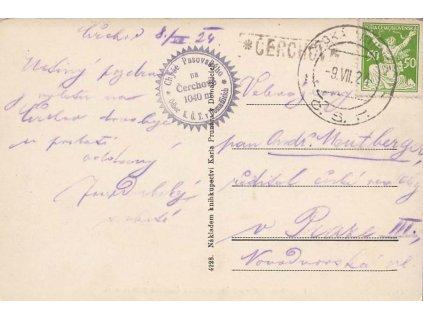 Čerchov, DR Česká Kubice, pohlednice zaslaná v roce 1924 Prahy