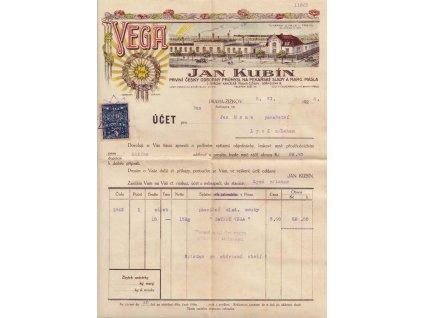 Jan Kubín, VEGA, účet, kolek 20h 1919, mírné stopy stáří