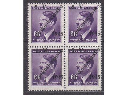 60h Hitler, 4blok s přetiskem 5.V.ČESKOSLOVENSKO 1945, **