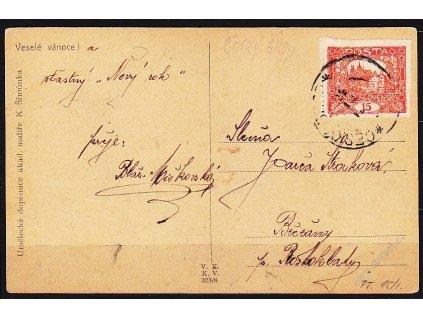 Pohlednice vyfr. zn. 15h cihlově červená, II.typ příčky, razítko ČESKÝ BROD