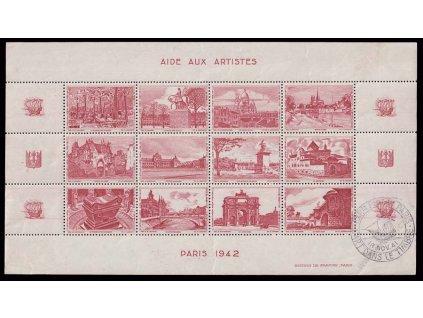 Paříž 1942, arch Výstavních nálepek, **/* , omačkání