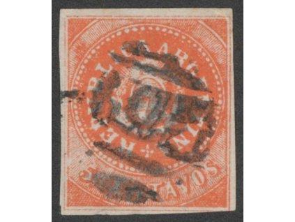 Argentina, 1862, 5C Znak, MiNr.5II, razítkované, dv