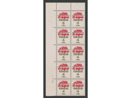 ČSPO 1969 4Kčs, členská známka, 10blok, datum tisku, **